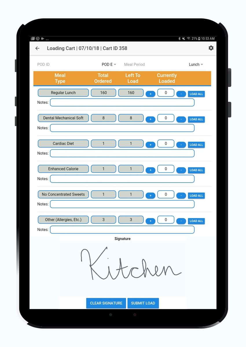 Tablet device displaying loading cart screen of Food Service Ace - Institution Meals app