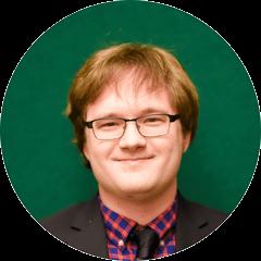 Circular headshot of Adam Kozlowski with green background